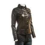 Ladies Brown Shirt Style Leather Jacket with Press Stud Fasteners