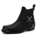 Ankle Length Harness Boots with Eagle Decoration