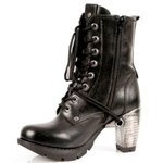 Lace-Up Boots with High Metal Look Heel
