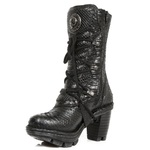 Snake Skin Effect High Heeled Lace-Up Boots