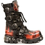 Lace-Up and Buckled Boots with Red Flame Decoration