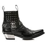 Riveted Harness Ankle Boots with Metal Look Heel