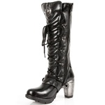 High Leg Boots with Laces, Buckled, and Metal Look Heel