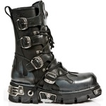 Lace-Up and Buckled Boots with Grey Flame Decoration