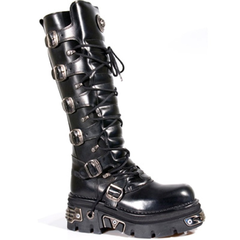 High Leg Boots with Laces, Buckled, and Metal Fittings On Sole