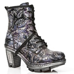 Purple/Silver/Black Vintage Design High Heeled Lace-Up Ankle Boots