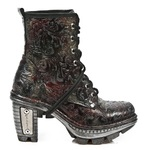 Red/Silver/Black Vintage Design High Heeled Lace-Up Ankle Boot