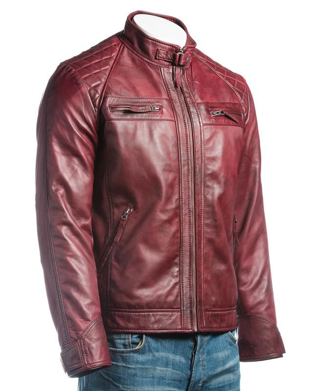 Men's Burgundy Diamond Shoulder Biker Style Leather Jacket