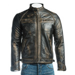 Men's Antique Black Diamond Shoulder Biker Style Leather Jacket