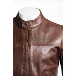 Men's Brown Plain Slim Fit Leather Jacket
