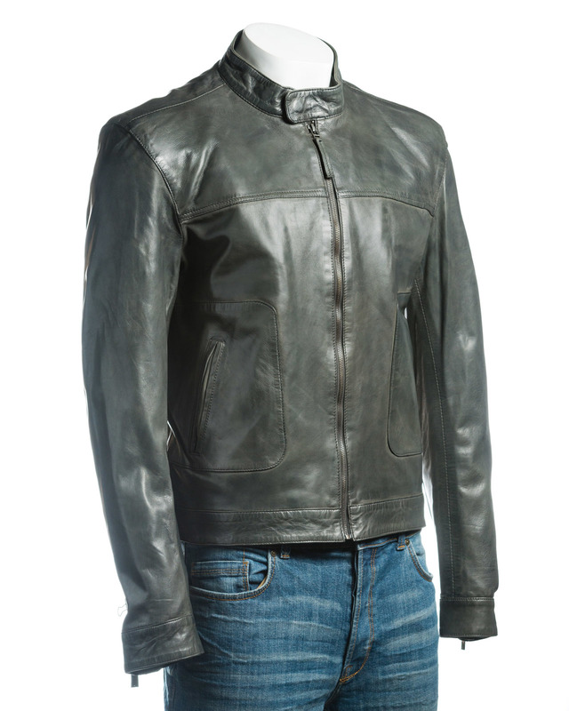 Men's Grey Plain Slim Fit Leather Jacket