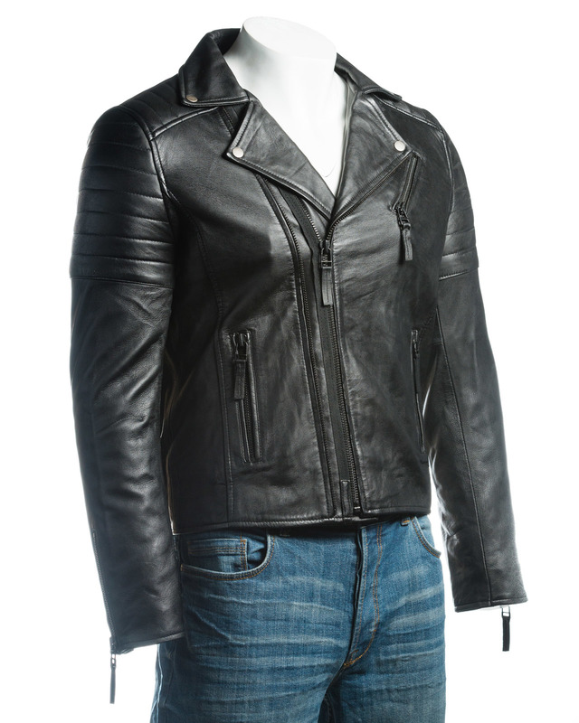 Men's Black Vintage Look Biker Style Leather Jacket
