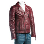 Men's Burgundy Vintage Look Biker Style Leather Jacket