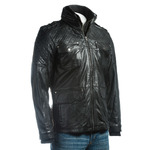 Men's Black Mid Length Leather Jacket With Double Collar And Shoulder Stitch Detail
