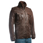 Men's Brown Mid Length Leather Jacket With Double Collar And Shoulder Stitch Detail