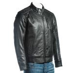 Men's Black Slim Fit Racer Style Leather Jacket With Shoulder Detail