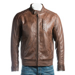 Men's Brown Slim Fit Racer Style Leather Jacket With Shoulder Detail