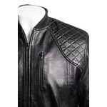 Men's Black Leather Rib Knit Collar Bomber With Diamond Shoulder Stitch Detail