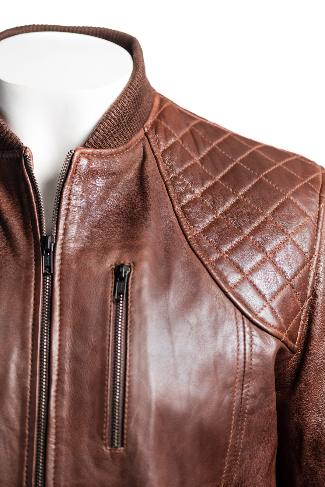 Knit and leather jacket