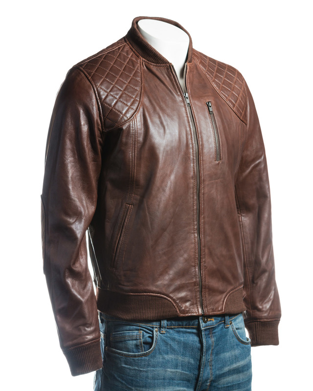 Men's Brown Leather Rib Knit Collar Bomber Jacket With Diamond Shoulder Stitch Detail
