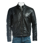 Men's Black Micro-Perforated Biker Style Leather Jacket