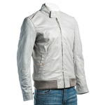 Men's Grey Leather Bomber With Stand-Up Stud fastening Collar