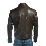 Men's Brown Shirt Style Leather Jacket