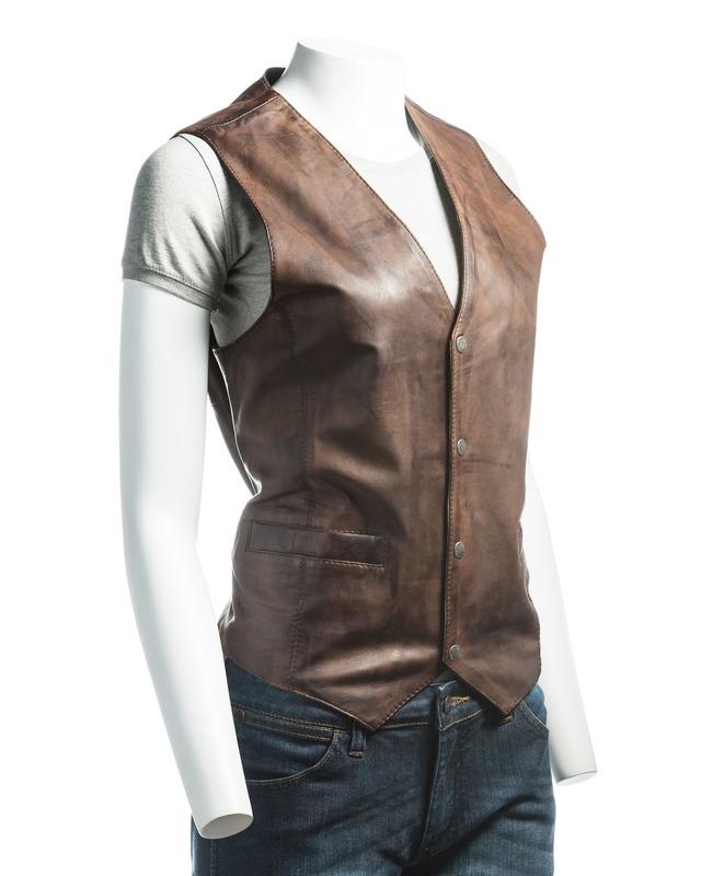Ladies Brown Stud Fastening Leather Waistcoat