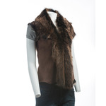 Ladies Brown Toscana Leather Gillet (shorter length)