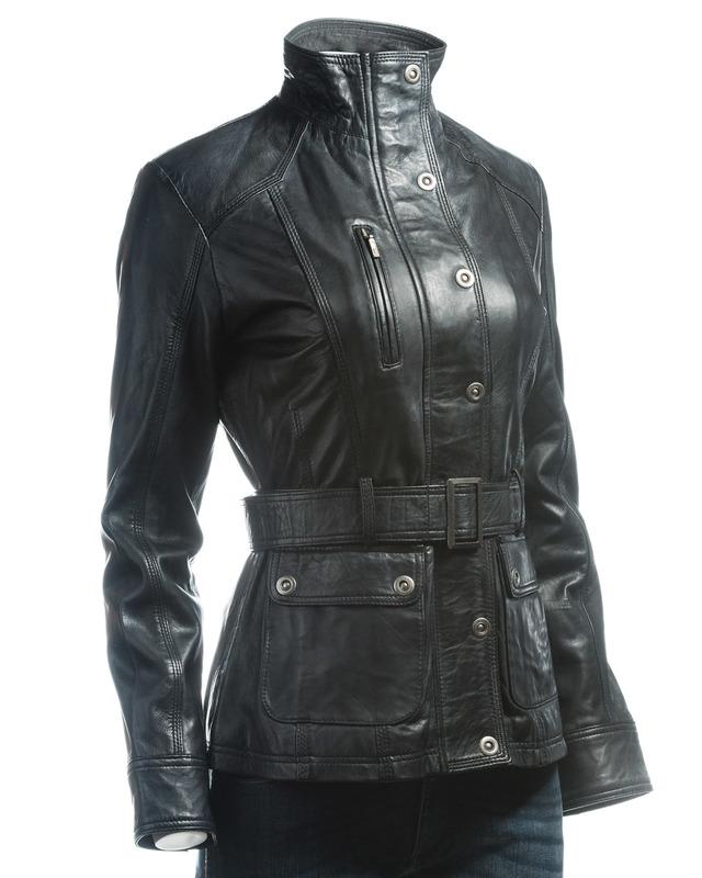 Ladies Black Belted Vintage Style Leather Jacket