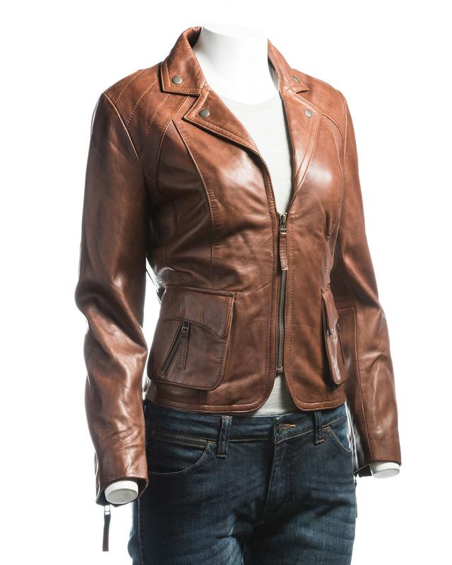 Ladies Brown Short Blazer Style Zipped Leather Jacket