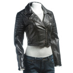 Ladies Black Short Collared Slim Fit Leather Biker Style Jacket