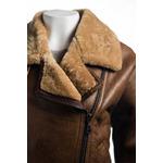 Ladies Tan Asymmetric Zip Sheepskin Flight Jacket