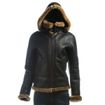 Ladies Brown and Ginger Vertical Zip Sheepskin Flight Jacket With Detachable Hood