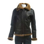 Ladies Brown and Ginger Vertical Zip Sheepskin Flight Jacket With Detachable Hood