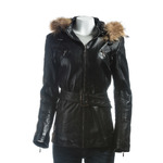 Ladies Black Belted Leather Coat With Detachable Fur Trimmed Hood