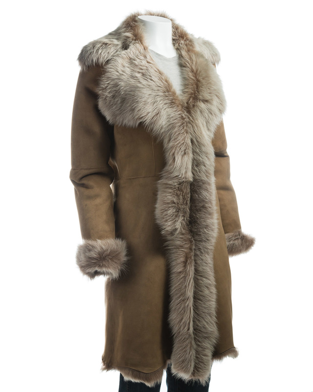 Ladies Beaver Colour Toscana Shearling Sheepskin Three Quarter Length Coat