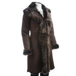 Ladies Brown Toscana Shearling Sheepskin Three Quarter Length Coat