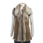 Ladies Beaver Colour Shearling Sheepskin Toscana Gilet (longer length)