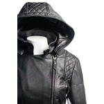 Ladies Black  Slim Fit Quilted Diamante Biker Style Leather Jacket With Detachable Hood