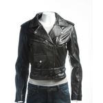 Ladies Black Short Fitted Asymmetric Zip Leather Biker Jacket