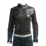 Ladies Black Pleated Front Biker Style Leather Jacket