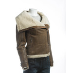 Ladies Tan Sheepskin Jacket With Oversized Collar