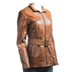 Ladies Tan Belted Leather Coat With Detachable Fur Trimmed Hood