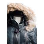 Ladies Navy Duffle Style Fitted Leather Parka With Fur Trimmed Detachable Hood