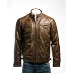Men's Brown Diamond Shoulder Biker Style Leather Jacket