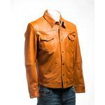 Men's Tan Shirt Style Leather Jacket