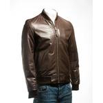 Men's Brown Rib-Knit Collar Leather Bomber