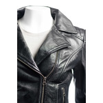 Ladies Black Fitted Biker Style Leather Jacket With Shoulder Detail