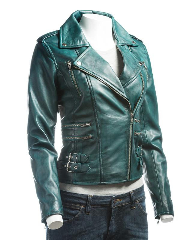 Ladies Green Buckled Asymmetric Biker Style Leather Jacket